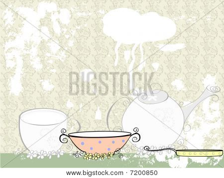 Website, brochure template with dishes.
