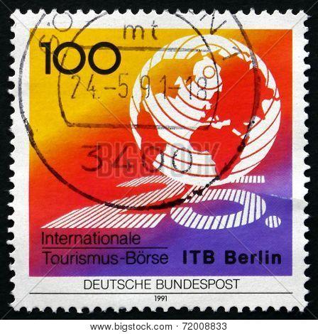 Postage Stamp Germany 1991 Globe, Tourism