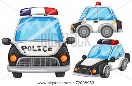 illustration of three police cars
