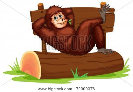 Illustration of a chimpanzee relaxing on a log