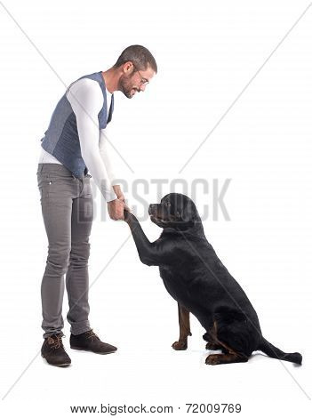 Man And Rottweiler