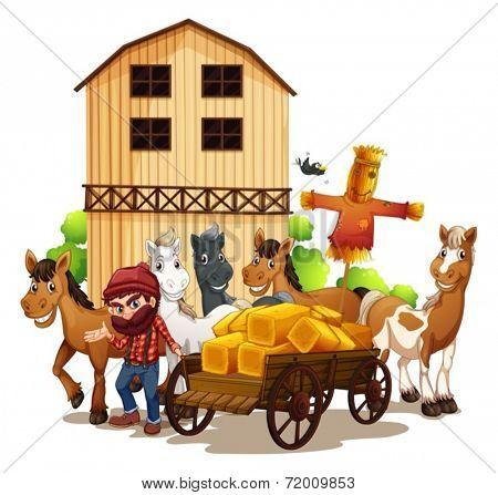 Illustration of a farmer and a barn