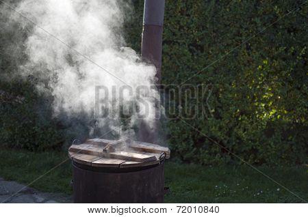 Steamy Rusty Cauldron