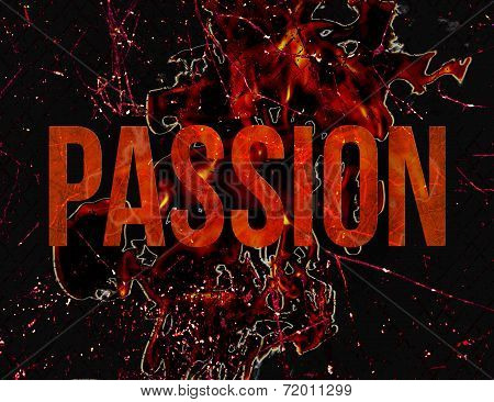 Passion Typography Grunge Style Illustration Design