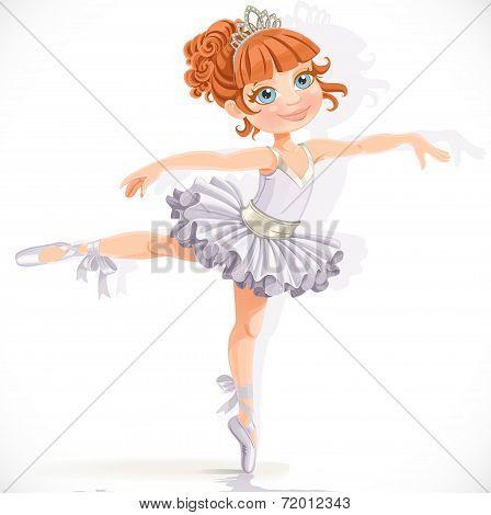 Beautiful ballerina girl in white dress