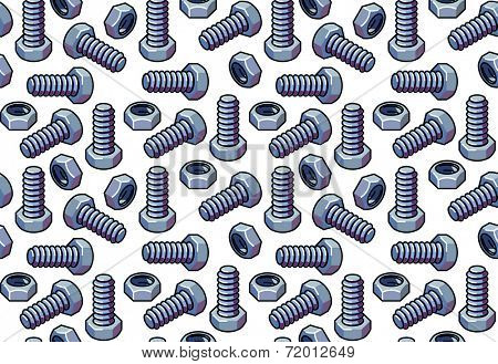 Seamless pattern of metal bolts and nuts. Raster illustration.