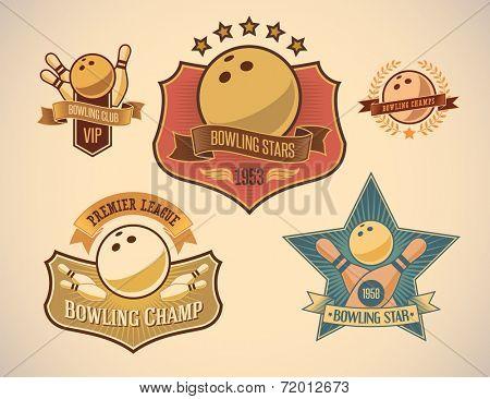 Set of vintage styled bowling tournament labels. Raster illustration.