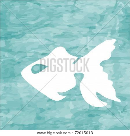 Abstract blue sea background with white fish