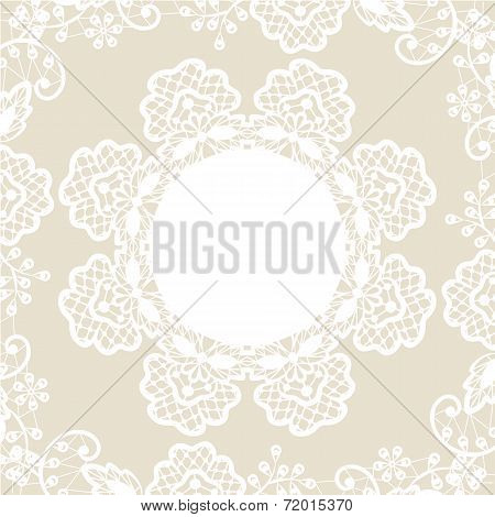 white lace on beige background