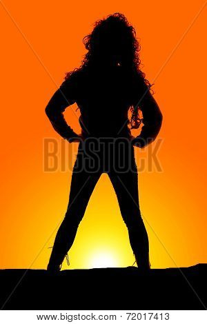 Silhouette Woman Curly Hair Stand Hands Hips