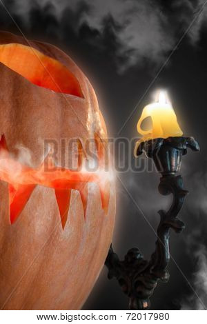 Smoggy Halloween Gourd And Candle