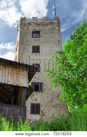 Lookout tower Ryzmberk with blue sky in Czech Republic