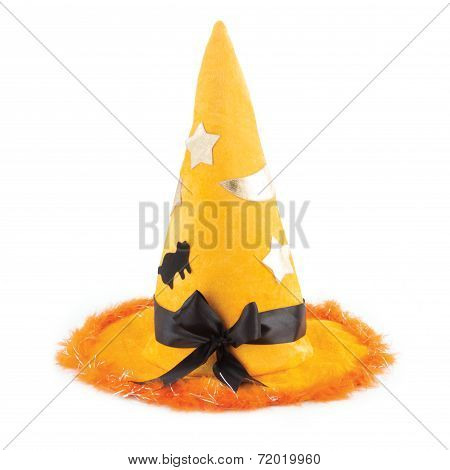 Orange Fabric Witch Hat For Halloween