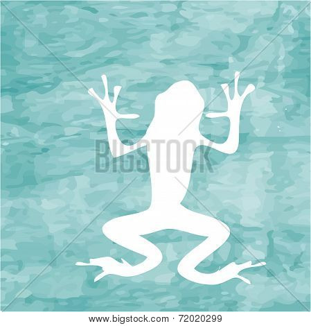 Abstract Blue Sea Background With White Frog