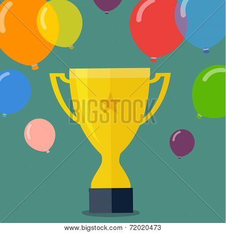 victory golden cup - flat design vector