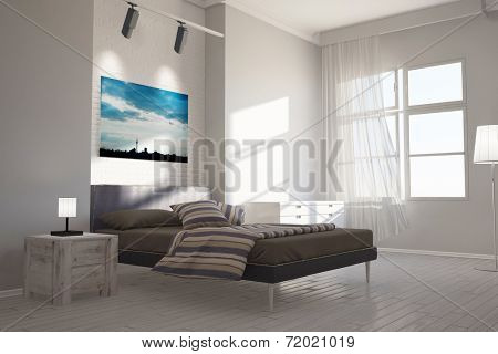 Modern bedroom with canvas of Berlin skyline over the bed
