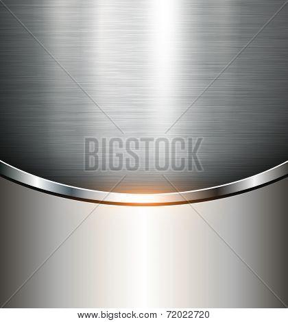 Metallic background polished steel texture, vector.