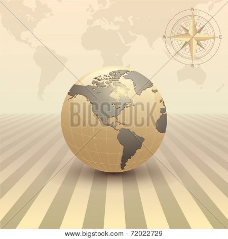 Abstract business background, retro sepia style with earth globe, vector.