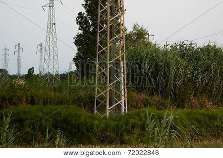 High-voltage Tower. Electric Powerlines