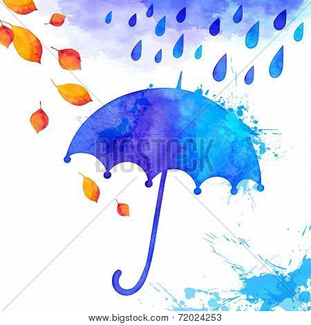 Blue watercolor painted umbrella under the rain