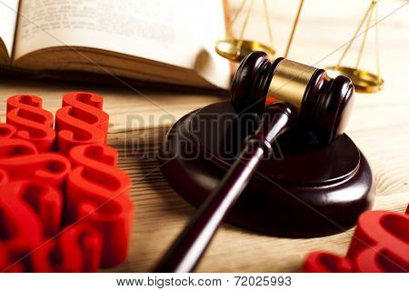 Law, legal code and scales of justice