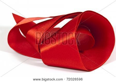 Roll Of Unfolding Shiny Red Silk Ribbon