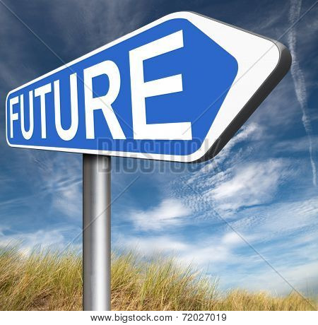 bright future ahead planning a happy future having a good plan with text and word concept road sign arrow