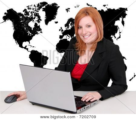 Businesswoman And World