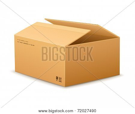 opening empty cardboard delivery packaging box isolated on transparent white background - eps10 vector illustration