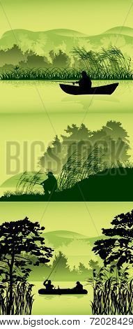 illustration with fishermen silhouettes in forest lake