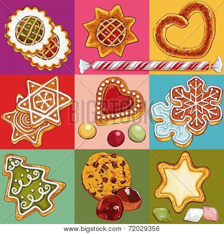 Set of christmas cookies in colorful squares