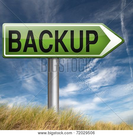 Backup data and software on copy in the cloud on a harddrive disk on a computer or server for file security. Internet safety