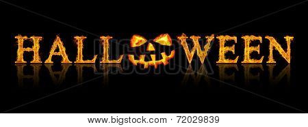 Halloween text - old jack-o-lantern on black background