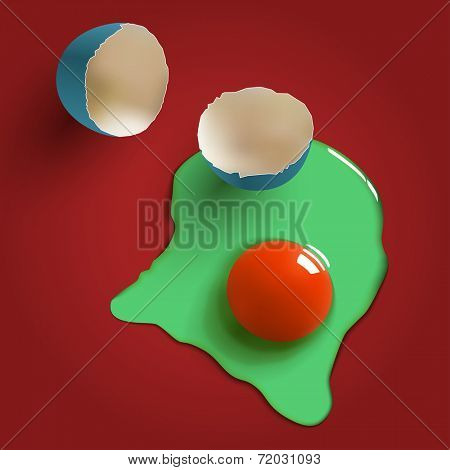 cracked surreal raw egg, shell, yolk and albumen