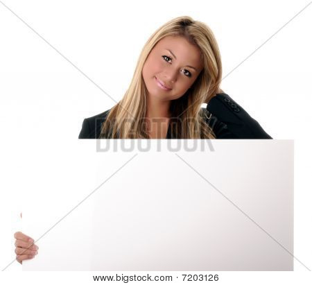 Girl Holding A White Sign