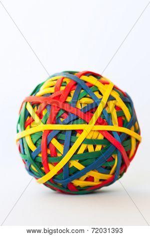 Multi color rubber band ball