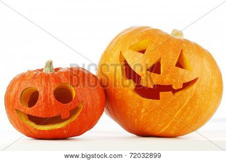 Two cute Halloween pumpkins isolated on white background