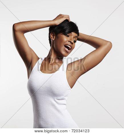 Happy Posing Black Woman In A White Blanc Top