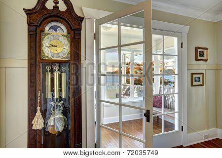 Antique Carved Wood Grandfather Clock