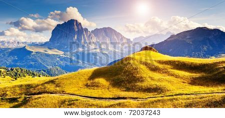 Great view on the Sassolungo (Langkofel) group, valley Gardena. National Park Dolomites, South Tyrol. Location Ortisei, S. Cristina and Selva Gardena, Italy, Europe. Dramatic scene. Beauty world.
