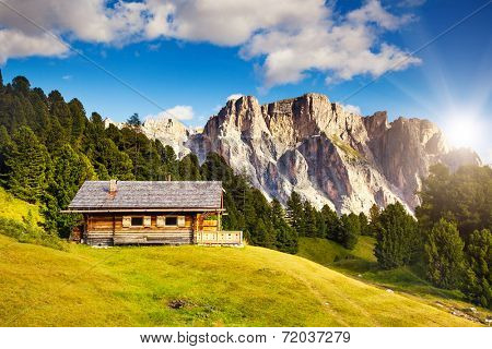 Great view on the Pizes de Cir ridge, valley Gardena. National Park Dolomites, South Tyrol. Location Ortisei, S. Cristina and Selva Gardena, Italy, Europe. Dramatic scene. Beauty world.