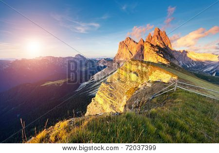 Great view on the  Odle - Geisler group. National Park valley Val Gardena. Dolomites, South Tyrol. Location Ortisei, S. Cristina and Selva Gardena, Italy, Europe. Dramatic morning scene. Beauty world.