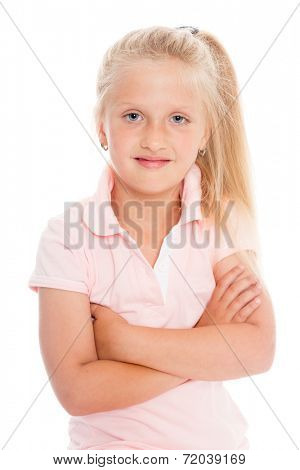 Portrait beautiful girl six years. Isolated on white. Girl is six years old.