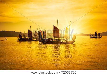 sunset on the lake, taihu wuxi china.