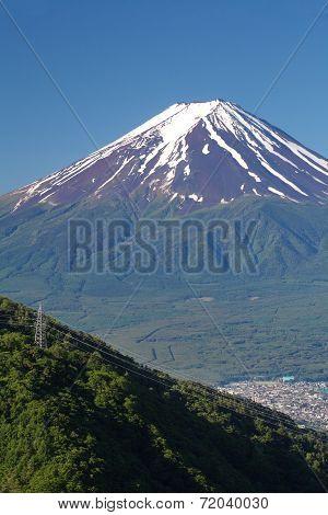 Mt Fuji in summer season from Kawaguchiko lake, Yamanashi