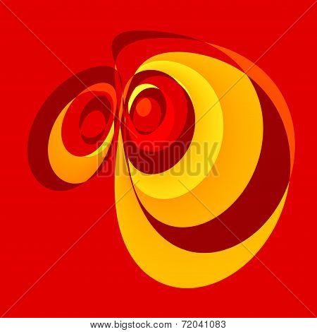 Abstract Red Emotional Cartoon Eyes