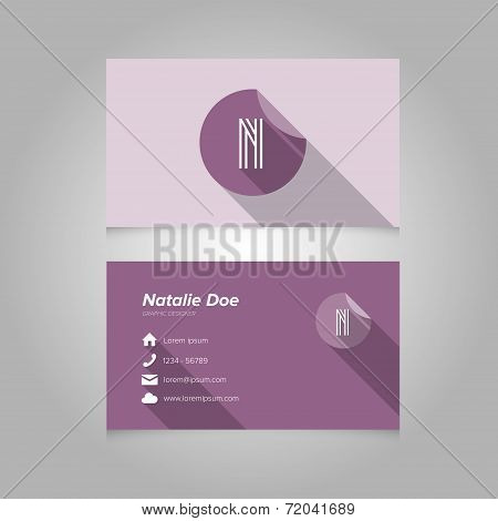 Simple Business Card Template With Alphabet Letter N