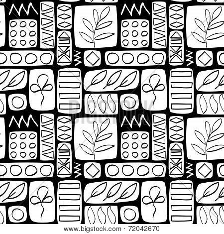Black and white patchwork quilted seamless pattern with leaves, vector