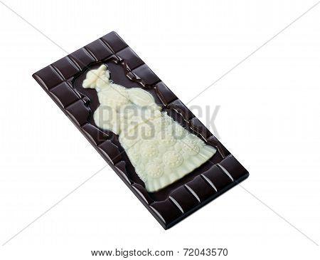 Tasty bar of dark chocolate with white pattern