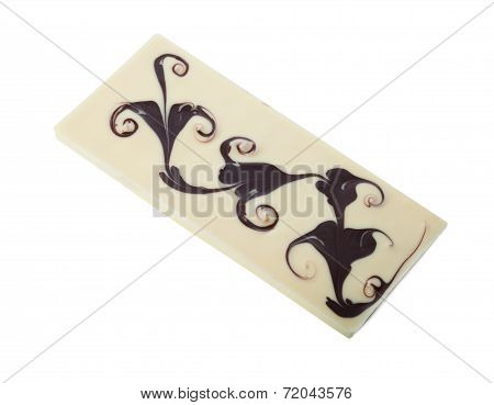 Image of white chocolate bar with pattern